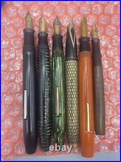 Vintage 6 Fountain pen lot from estate Parker Sheaffer Watermans Belmont AS IS