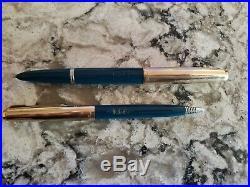 Vintage Blue Parker 51 Fountain Pen & Pencil Set With Case 12K Gold Filled