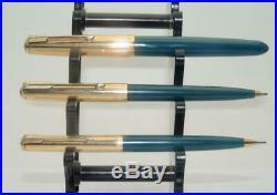 Vintage Boxed Parker 51Triple Set Fountain Pen Etc. Minty Rolled Gold Caps WK16