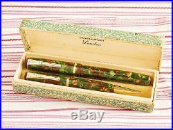 Vintage English Burnham Green Tortoise Marble Gold Fountain Pen Pencil Boxset