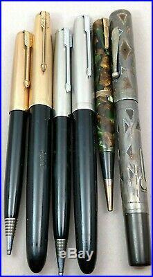Vintage Fountain Pen Pencil Lot Silver Overlay Waterman 452 Patricia Parker 51