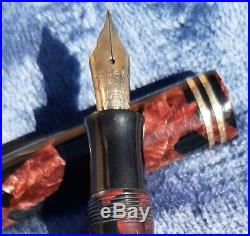 Vintage GEO S. PARKER Burgundy Marbled Streamline Duofold Senior Fountain Pen
