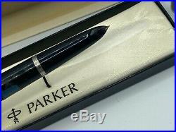 Vintage PARKER 51 Fountain pen BLACK 14K Med nib New Old Stock Stickers
