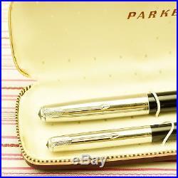 Vintage PARKER 51 MKI Mark I Matte Black Custom Fountain Pen Ink Pencil BOX-SET