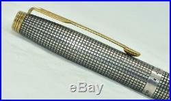 Vintage PARKER 75 Cisele Fountain Pen 925 Sterling Silver Cap & Barrel Gold Trim