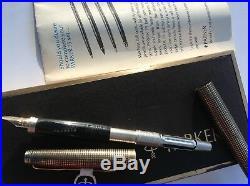 Vintage PARKER 75 FOUNTAIN PEN Box USA STERLING VERMEIL BARREL 14K Point Nib NWT