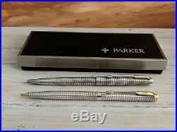 Vintage PARKER Cisele Classic 75 Sterling Silver Ballpoint Pen & Pencil Set