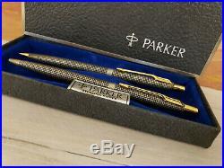 Vintage PARKER Cisele Classic 75 Sterling Silver Ballpoint Pen + Pencil Set, NOS