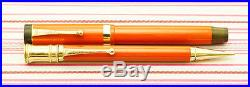 Vintage PARKER DUOFOLD SENIOR DELUXE Red Lacquer Gold GT Fountain Pen Pencil SET