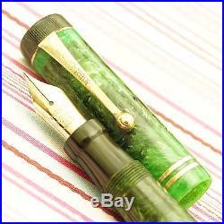 Vintage PARKER DUOFOLD SENIOR Green Jade Marble Flat-top Button-fil Fountain Pen