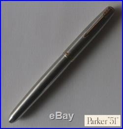Vintage PARKER Model 51 Flighter stainless steel fountain pen, c. 1956excellent