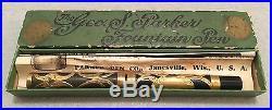 Vintage Parker 16 Gold Filagree Fountain Pen Box & Papers 14ct. Flex Nib EX