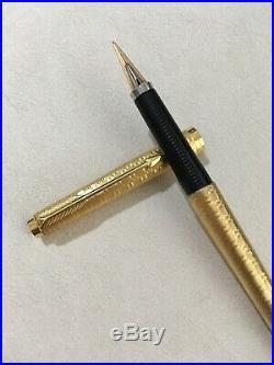 Vintage Parker 180 Gold Plated Damier Gt 14k X Fine/medium Fountain Pen-france
