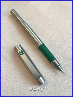 Vintage Parker 25 Flighter Ridge Top Green Trim Medium Nib Fountain Pen-england