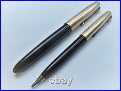 Vintage Parker 51 Deep Brown Fountain Pen And Pencil Set 12k Gold Filled