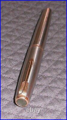 Vintage Parker 51 Flighter Fountain Pen Med. Gold Nib, Gold Trim, Aero Fill USA