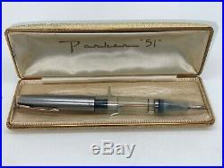Vintage Parker 51 Fountain Pen Full DEMONSTRATOR VAC 14K BROAD nib CANADA Boxed