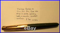 Vintage Parker 51 Fountain Pen -UK Made -Rolled Gold Top & Teal Body -Exc Cond