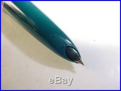 Vintage Parker 51 Pen & Mechanical Pencil Set bluish green With Case