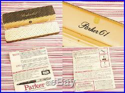 Vintage Parker 61 Gold Signet Insignia 2-jewel Fountain Pen New Mint +full Set