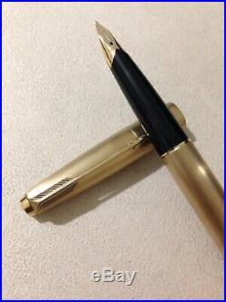 Vintage Parker 65 Cirrus 12k Rolled Gold Medium Fountain Pen-england-superb
