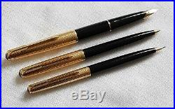 Vintage Parker 65 Consort Trio Set Fountain Pen Ballpoint & Propelling Pencil