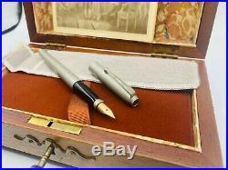Vintage Parker 75 Bicentennial Pewter Fountain Pen LE 14K Fine Nib Boxed Perfect