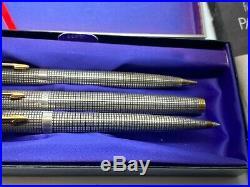 Vintage Parker 75 Cisele Fountain Pen Ballpoint Pen Pencil 3pc Boxed NO DINGS