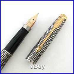 Vintage Parker 75 Cisele Sterling Silver Fountain Pen Fine 14K Gold Nib