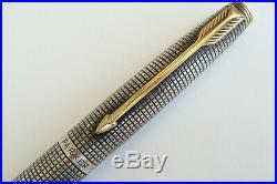 Vintage Parker 75 Cisele Sterling silver Roller Ball Fiber Tip Gold Flat Top Pen
