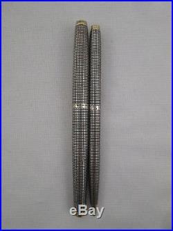 Vintage Parker 75 Classic Sterling Silver Ciselle Fountain Pen & Pencil Set 14k