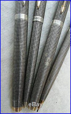 Vintage Parker 75 Grid Pattern Cisele Sterling Silver Pen Set 3 Pens 1 Pencil