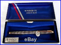 Vintage Parker 75 Sterling Silver & 14K Nib Fountain Pen New in Box NEVER USED