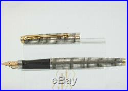 Vintage Parker 75 Sterling Silver Cicele Fountain Pen, GT, XF Nib, Box, MINT