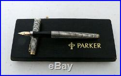 Vintage Parker 75 Sterling Silver Cisele Fountain Pen 14K Gold Fine Nib + Refill