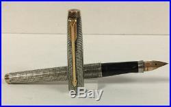 Vintage Parker 75 Sterling Silver Cisele Fountain Pen Flat Ends C1964