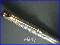 Vintage Parker 75 USA Sterling Silver Cisele Ball Point Pen Gold Trim VGC