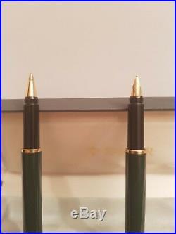 Vintage Parker 88 Gt Rialto Gloss Green Gold Trim Fountain Pen / Ball Pen Set