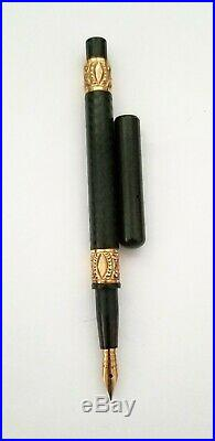 Vintage Parker Bchr Eyedropper Fountain Pen Ornate Gold Bands Flexible Nib