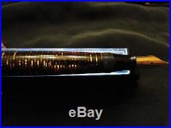 Vintage Parker Blue Diamond Vacumatic Fountain Pen Golden Pearl Flex Nib