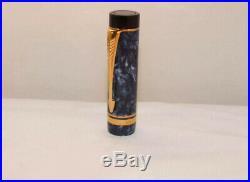 Vintage Parker Duofold Centennial Blue Marble 18k Gold Medium Nib