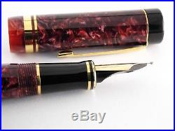 Vintage Parker Duofold Centennial Fountain Pen-Pearl Red Marbled-18K-1980s