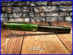 Vintage Parker Duofold Fountain Pen-Jade Green Button Filler-14K-Canada 1920s