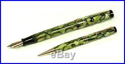 Vintage Parker Duofold Fountain Pen Pencil Set Senior Moderne Pearl Black CLEAN