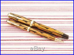 Vintage Parker Duofold Geometric Toothbrush Gold Tiger Fountain Pen & Pencil Set