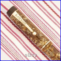 Vintage Parker Duofold Golden Gold Tiger Eye Pearl Striped Marble Fountain Pen