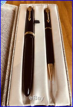 Vintage Parker Duofold Maxima Fountain Pen/Pencil Set 14K Gold Nib Original Box