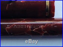 Vintage Parker Premiere fountain pen, 1944 Canada, 14k semi flex nib, mottled red