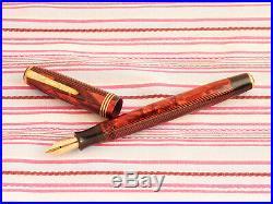 Vintage Parker Royal Challenger Senior Deluxe Red Herringbone Fountain Pen Rare