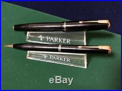 Vintage Parker Standard Vacumatic Fountain Black Pen/Pencil Set in Leather Case